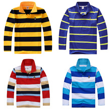 New Boys Spring  Autumn Long Sleeve Polo Shirts Children Lapel Striped Clothes Baby Bottoming Tops