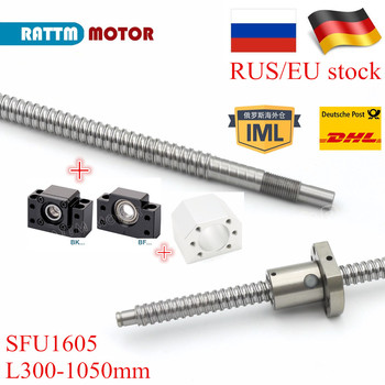 цена на RU/EU Ship! 1pc Ball-screw SFU1605 L500mm/800mm/1050mm with End machined & BK/BF12 Support & ball Nut ballscrew set CNC parts