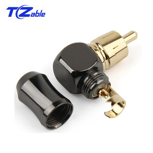 Image 3 - RCA Connector Male L type 90 degree Curved RCA Right Angle Elbow Converter RCA Plug Gold Plated Solder Wire Audio Adapter
