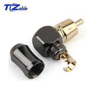 Image 3 - Rca Connector Mannelijke L Type 90 Graden Gebogen Rca Haakse Elleboog Converter Rca Plug Vergulde Soldeer Audio adapter