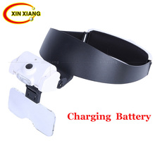 Charged Headband Led Light Glasses Magnifier Watchmaker Watch Repair Magnifier Embroidery Magnifying Glass Led Eyeglasses Loupe led light magnifier
