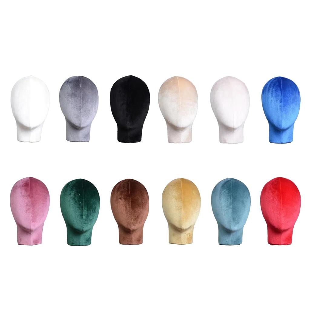 Бархатная голова для париков, шляпы, очки, голова для рассеивания манекена, основа для головы с монтажным отверстием, легко помещается с сам...
