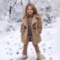 Детское зимнее однотонное ветрозащитное пальто с длинным рукавом и карманами для маленьких девочек от 18 до 6 лет