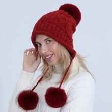 Trapper-Cap Earflap Winter Women Cute Knit Pompom-Ball Plush-Lining Thermal-Ear-Warmer