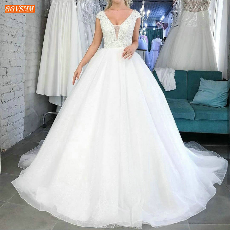 Glitter Beading White Wedding Gowns Sleeveless Sequin Lace Up Tulle Ball Gown Wedding Dress Princess Custom Made Bridal Dresses