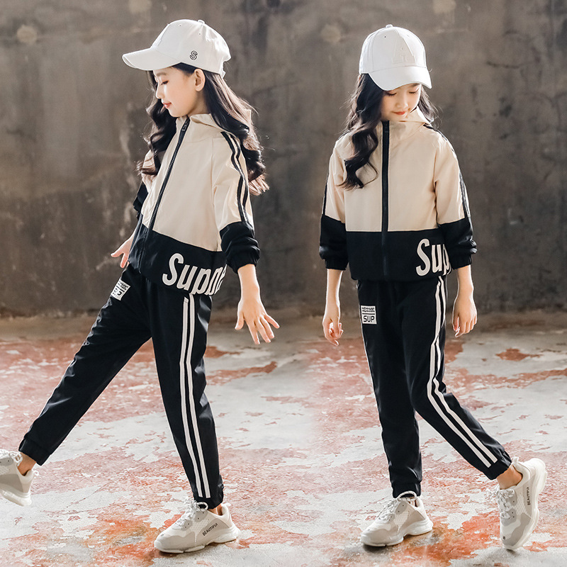 Baby <font><b>Girls</b></font> Tracksuits Kids <font><b>Clothes</b></font> Sets Autumn Long Sleeve Letter Hoodie+Striped Outfits <font><b>Teenager</b></font> <font><b>Girls</b></font> <font><b>Clothes</b></font> Sets 3-12T image