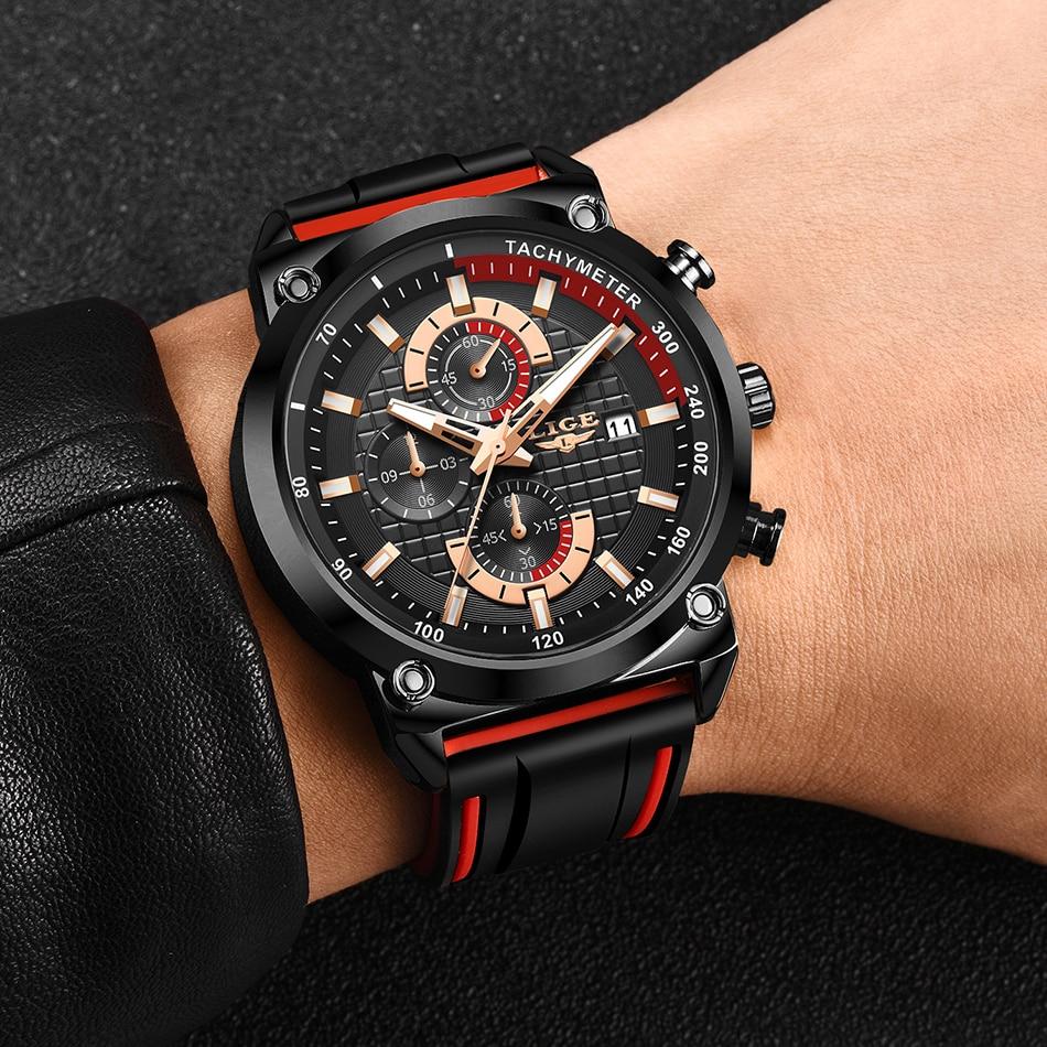Hcde77c523d694374bd6c09c125195030Z New Top Fashion Chronograph Quartz Men Watches LIGE Silicone Strap Date Wristwatch Clock Male Luminous Watch Relogio Masculino