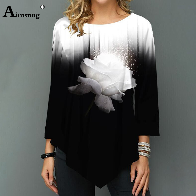 Plus Size 4xl 5xl Women New Autumn Three-dimensional Printing Tops Nine Points Sleeve Elasticity Female T-Shirt Casual Loose