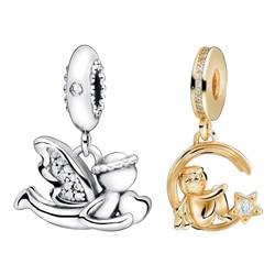 New 925 Sterling Silver Bead Angel and Eros Moon Dangle Charm Fit Original Pandora Charm Bracelet Women Anniversary Jewelry Gift