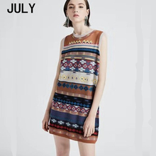 2019 summer Vintage Knit Dress Womens Wild Slim Geometric Color Round Neck Sleeveless Jacquard