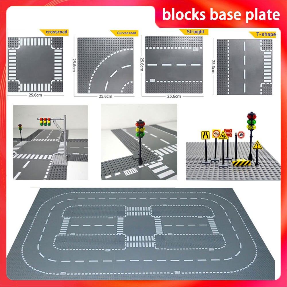 Основание для городской дороги, улицы, прямая кривая кросс-дорога, Т-образные строительные блоки 7280 7281, базовая пластина, совместимая со все...