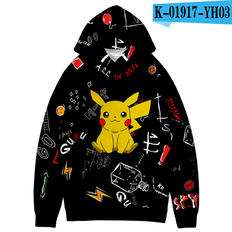 Pokemon Hooide Anime Harajuku Sweatshirts 3D Pokemon cute Leisure popular Graffiti Design Boy/Girl Hooded Coats Students Hoodie 1