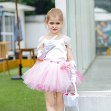 Pink Girls Wedding Flower Girl Dress Child Sleeveless Lace Dress Summer Kids Dresses for Girls Knee Length Birthday Party Dress cute short pink and white flower girl dresses peter pan collar knee length baby girls summer dress 1st birthday outfit with bow