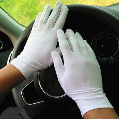 1 Pair Spring Summer Spandex Gloves women Black White Etiquette Thin Stretch Gloves Dance Tight White Jewelry Gloves Multan