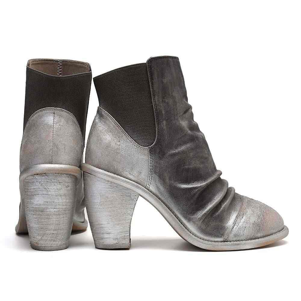 SOCOFY メタリック色スプライシングブーツチャンキーヒール弾性バンド革のブーツ女性の女性の靴