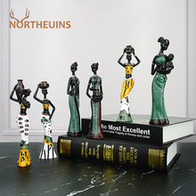 NORTHEUINS 3pcs/Set Resin African Women Figurines Statues Interior Living Room Decoration Crafts Ornaments for Home on the Shelf