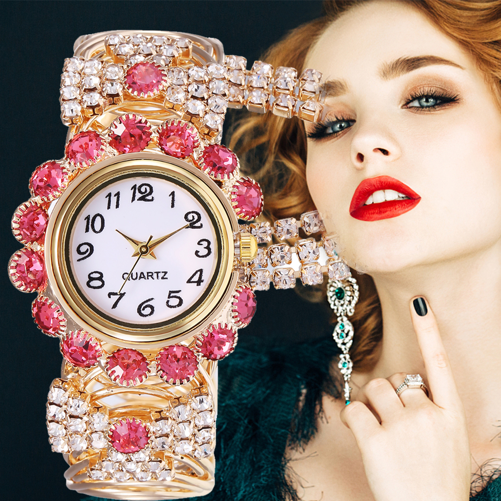 Multicolor Luxury Bracelet Watches For Women With Rhinestones  Crystal Analog Ladies Quartz Wristwatches Ladies Dress Gift Clock