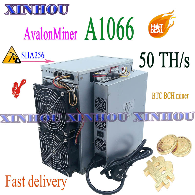 Btc Bch Miner Avalon A1066 50T SHA256 Asic Miner Beter dan Avalonminer 1066 M21S M20S M3 Antminer S17 + s17e T17 + T17e T2T T3
