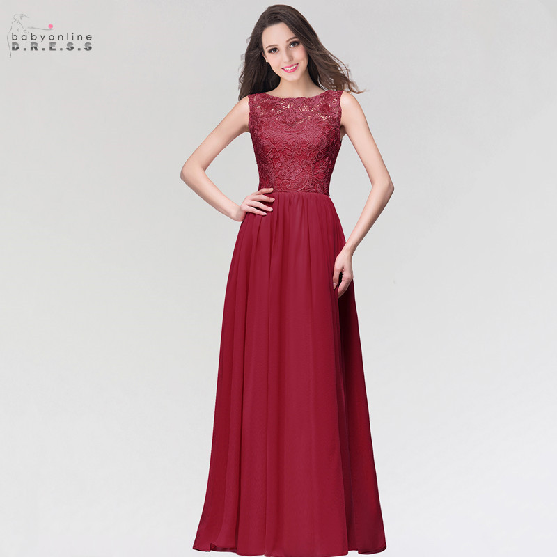 24 Hours Shipping Burgundy A-line Lace Long Evening Dresses Cheap Appliques Sleeveless Formal Party Dress Vestido De Festa Longo
