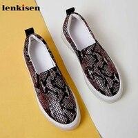 Comprar Lenkisen estampado serpiente cuero genuino mocasines zapatos punta redonda gruesa ropa de calle moda deslizamiento en