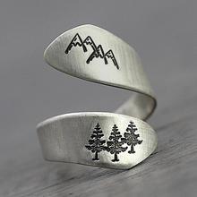 Регулируемое женское серебряное кольцо в форме леса с регулируемой горной елкой, открывающее тайское кольцо, уникальное винтажное рождественское кольцо на палец для Хэллоуина