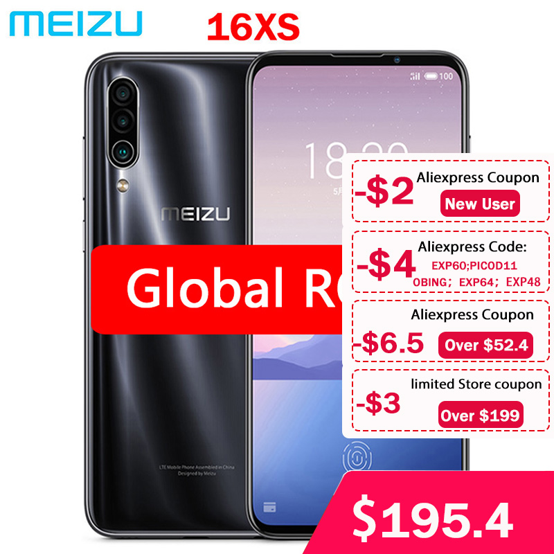 "Global ROM Meizu 16XS 6GB RAM 16 XS Smart Phone Snapdragon 675 6.2"" 48MP Triple Camera AI Front 16MP 4000mAh