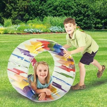 36inch Giant Roll Ball For Boys and Girls Swimming Pool Toys Grass Plaything Kids Colorful Inflatable Water Wheel Roller Float