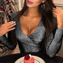Shine Glitter Women Body 2019 Sexy Bodysuits Deep V-neck Offiice Lady Club Rompe