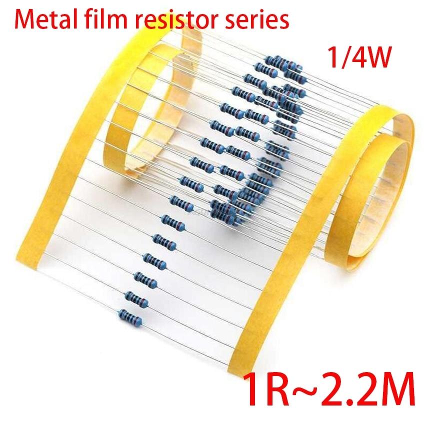 100pcs Metal Film Resistor Series 1/4W 1R~2.2M 1% 100R 220R 1K 1.5K 2.2K 100 220 1K5 4.7K 10K 22K 47K 100K 2K2  4K7 Ohm