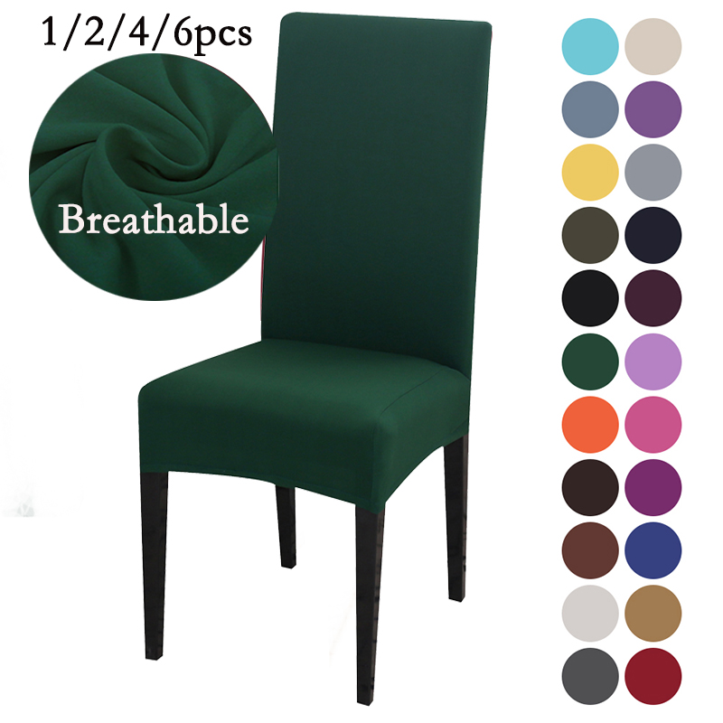 Active 1/2/4/6pcs 23 Colors Spandex Dining Chair Covers Grey Black Stretch Slipcovers Universal Removable Chair Protective Covers