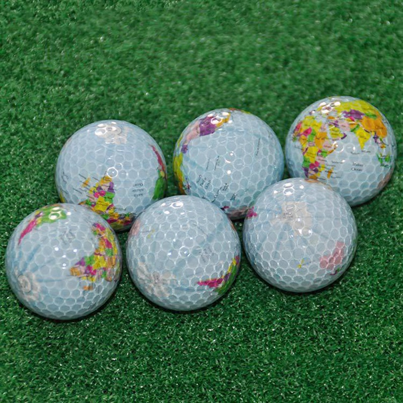 6Pcs/Set Globe Map Golf Balls Color Golf Balls Practice Ball Golf Gift Balls Transparent Colorful Children Pet Toys Massage