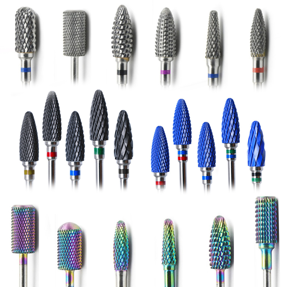 29 Type Nail Drill Bits For Electric Drill Manicure Machine Accessory Colorful Ceramic Milling Cutter  Rainbow Tungsten Carbide
