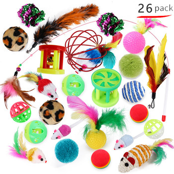 Cat Toys Set Funny Cat Stick Bell Ball Feather Toy Creative Assorted Cat Interactive Cat Play Toy for Kittens 1