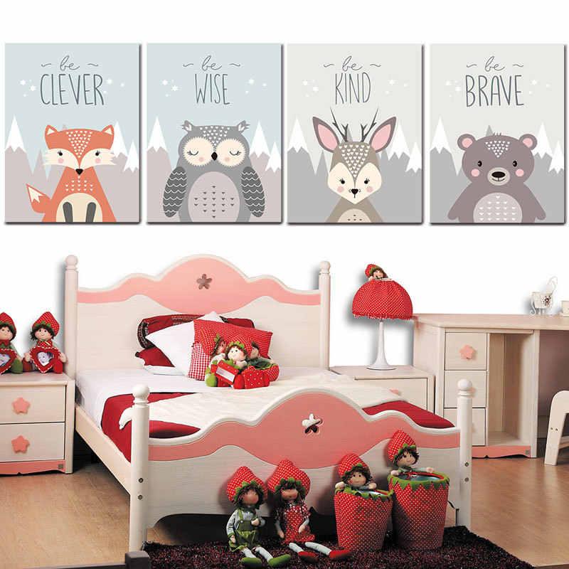 Arte nórdica animal leão raposa urso minimalismo cartaz pintura desenho animado berçário parede imagem impressão do bebê crianças quarto decoração corajoso