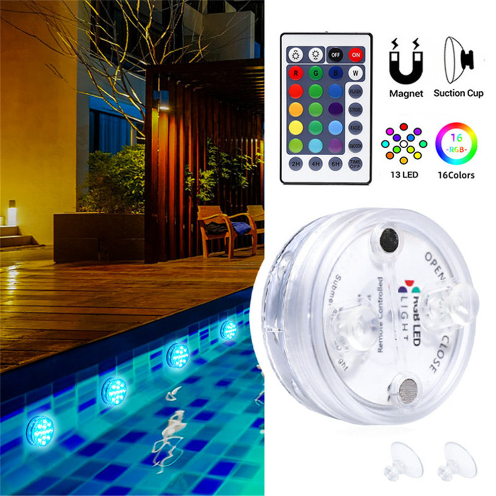RGB Submersible Light With Magnet 13 LED Underwater Night Light Swimming Pool Light For Outdoor Vase Fish Tank Pond