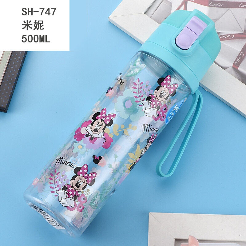 500ml Disney Mickey Children Summer Cup Boy Girl Straight Drinking Water Bottle Princess Portable Outdoor Water Cup Sofia Kettle