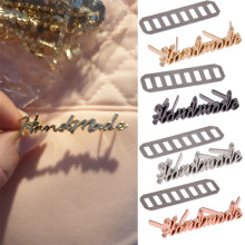 10 pçs artesanal carta etiquetas de metal para jeans sapatos sacos diy artesanato costura artesanal decoração etiquetas cor de prata ouro rosa