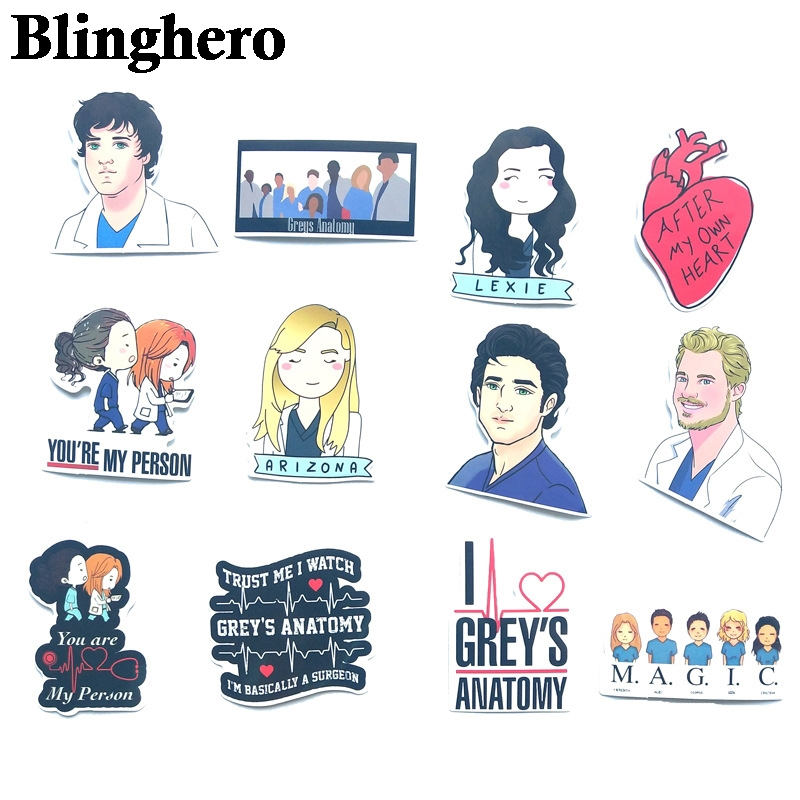 Купить с кэшбэком CA543 50pcs/Set Classic American Drama Grey's Anatomy Sticker For Luggage Suitcase Laptop Car Phone PVC Sticker Doctors Gift