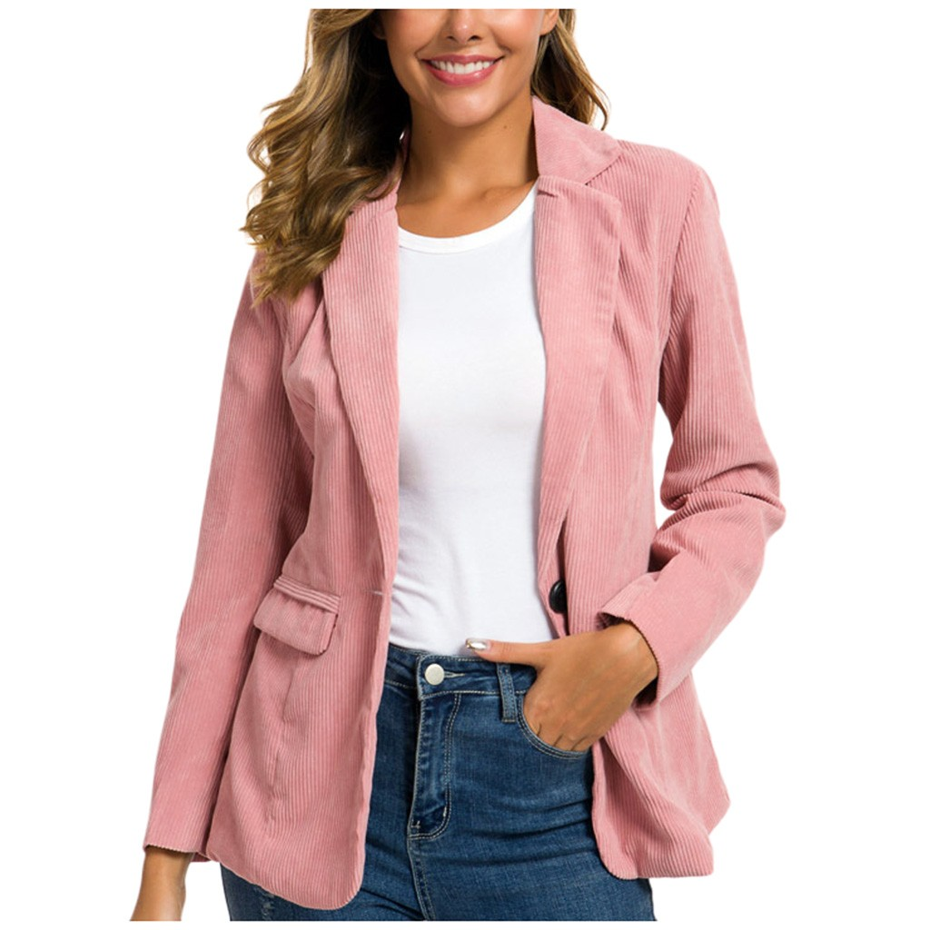 2019 Spring Women Slim Blazer Coat Solid Casual Jacket Long Sleeve One Button Suit Lady Blazers Work Wear Plus Size S-2xl#3