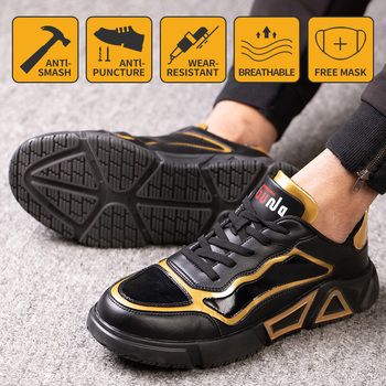Anti-smashing work shoes safety shoes anti-piercing labor protection shoes steel toe shoes sports shoes hiking shoes Comfortable men labor insurance shoes men breathable deodorant safety work shoes steel toe caps anti smashing anti piercing site shoes 36 46
