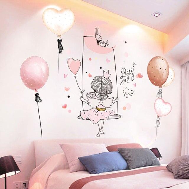 [shijuekongjian] Cartoon Girl Moon Wall Stickers DIY Balloon Mural Decals for Kids Rooms Baby Bedroom Nursery House Decoration