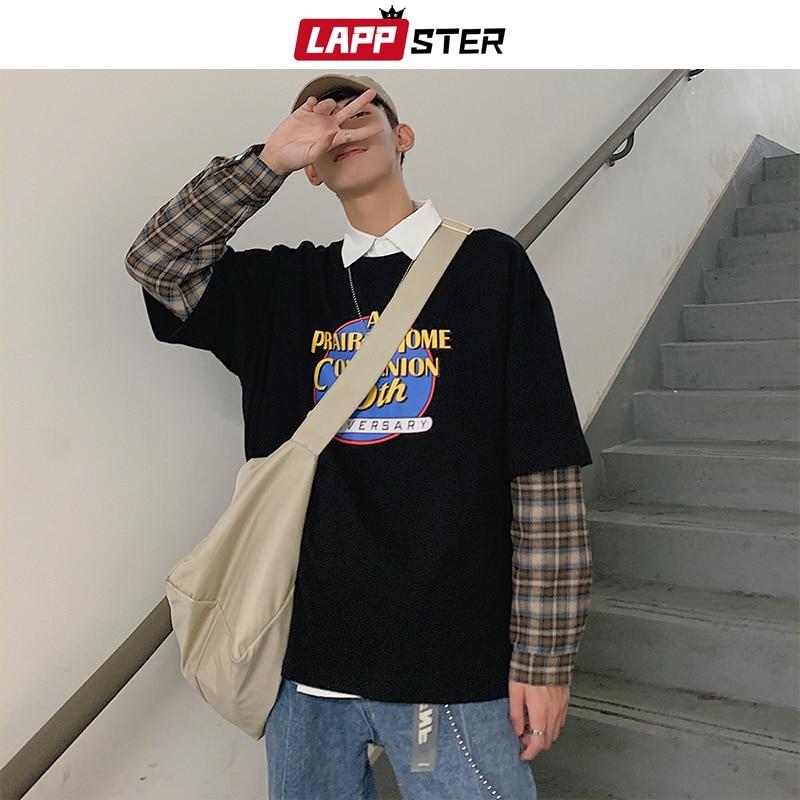 LAPPSTER Men Plaid Patchwork Harajuku Hoodies 2020 Pullovers Spring Mens Korean Streetwear Sweatshirts Women Japanese Clothing