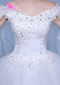 Image 4 - AIJINGYU 2021 real photos new hot selling cheap ball gown lace up back formal bride dresses wedding dress WK595