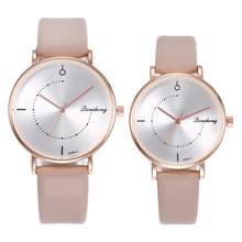 watch men Casual Unisex No Numbers Faux Leather Pointer Quartz Wrist Watch Lovers Gift couple watch reloj New Men's and women's(China)