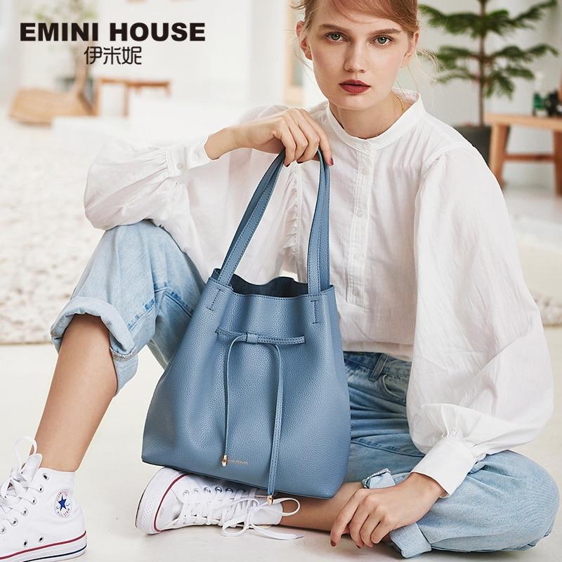 エミニハウスソフトスプリット革巾着トート高級ハンドバッグの女性のバッグデザイナークロスボディバッグ女性のためのショルダーバッグ  グループ上の スーツケース & バッグ からの トップハンドルバッグ の中 1
