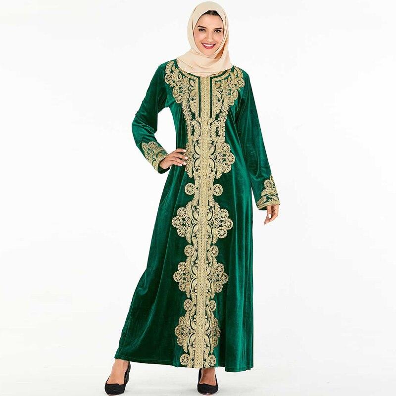 Winter Vestidos Velvet Abaya Arabic Hijab Muslim Dress Caftan Dubai Kaftan Morocco Robe Musulmane Tesettur Elbise Turkey Dresses