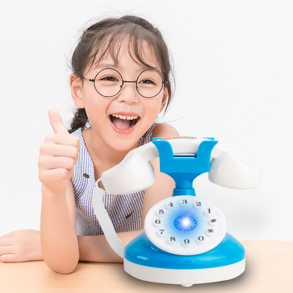 Kids Role Play Telephone Set Realistic Toy Bule With Lights & Sounds Children's Creative Fun Toys Boy Girls Gift