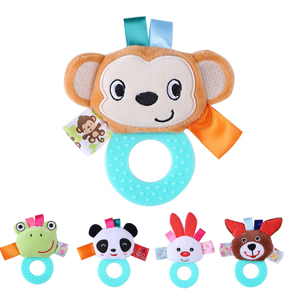 JMAO Soft Teether Baby Toys Rattles Cute Cartoon Hand Bell Education Toys For Newborn Baby Mobile Bell Funny Game Panda Monkey