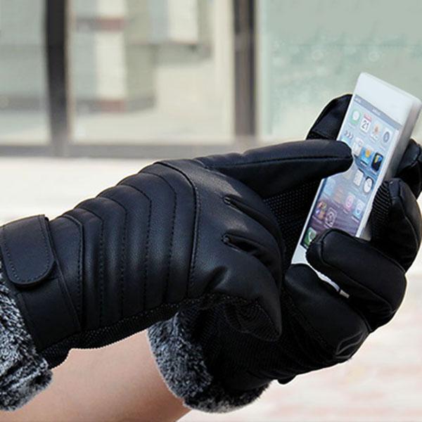 1Pair Men Synthenic PU Golves Winter Warm Five Finger Wrist Gloves Cut Wool Thicken Touches Screen Fur Mittens  SER88