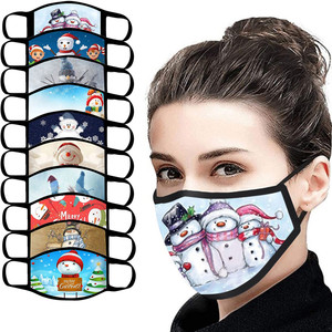 2pcs Christmas Print Face Breathable Cycling Mask Adult Unisex Safet Protect Mouth Mask Women Washable Reusable Masks Mascarilla